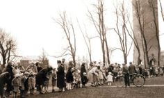 Collegiate Presbyterian Church held an Easter egg hunt on the Iowa State Campus in 1923. This event grew to become an annual affair for the entire community, eventually including the participation of Ames schools, the Jaycees, Fire Department, Boy Scouts, Camp Fire Girls, and the Iowa State Home Economics Department. Photo courtesy of www.ameshistoricalsociety.org.