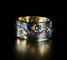 Kintsugi Wedding Band of 18K Gold and Oxidized Silver with Black Diamond Inset