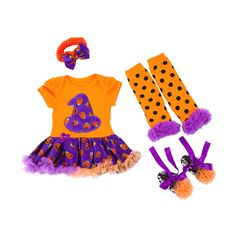 Magic Hat Pumpkin Baby Outfit (4pc-set), 41.2% discount @ PatPat Mom Baby Shopping App