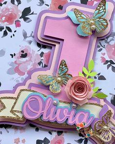 Butterfly Birthday Party, Unicorn Birthday Parties, First Birthday Parties, First Birthdays, Diy Cake Topper, Custom Cake Toppers, Cupcake Toppers, First Birthday Cake Topper, Minnie Mouse Birthday Decorations
