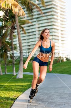 Young Blonde Woman Rollerblader Royalty Free Stock Photo