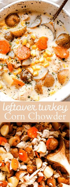 Turkey Corn Chowder - One pot and 30 minutes is all you will need to make this delicious and hearty, quick cooking chowder loaded with turkey, potatoes, and corn. #leftoverturkey #leftovers #thanksgiving #soup