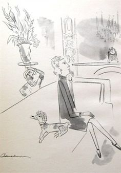Ludwig Bemelmans sketched Lady Mendl at After All, her Beverly Hills, California, home; she is seated with one of her toy poodles. Ludwig Bemelmans, Elsie De Wolfe, Interior Design Sketches, Vintage Interiors, Color Blending, Nursery Art, Illustration Art, Illustrations, How To Memorize Things