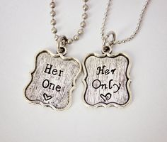 Her One, Her Only - The Original - Hand Stamped Couple Necklace Set - LGBT Jewelry - Great Gift for Lesbian Couples. $35.00, via Etsy.