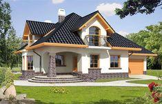 Projekt domu z poddaszem Ariadna II o pow. 135,9 m2 z obszernym garażem, z dachem kopertowym, z tarasem, z wykuszem, sprawdź! 4 Bedroom House Designs, Modern Exterior House Designs, Modern House Facades, Small House Interior Design, Simple House Design, Bungalow House Design, House Paint Exterior, Village House Design, Kerala House Design