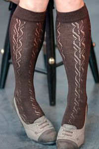 lucille wool crochet trouser sock in espresso. obviously.
