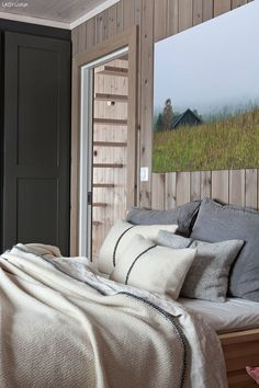 decordemon: Modern cottage in natural tones Bed Decor, Bed Design, Home, Cheap Bed Sheets, Cottage Inspiration, Cabin Interiors, Modern Cottage, Luxury Bedding, Cabin Bedroom