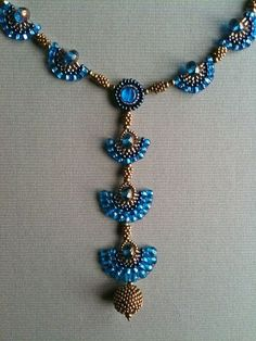 Capri Blue and bronze gold fan necklace by Jeka Lambert front detail. Seed bead woven, bead embroidery, beaded beads by Dreamer2