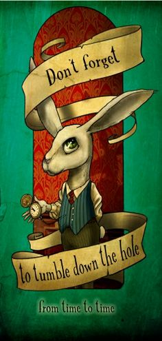 Rabbit, Alice in wonderland, illustration by Tattoo Dagmar Belgium