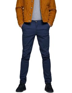 Jack And Jones Premium Navy Blazers, Navy Chinos, Slim Fit Chinos, Slim Fit Pants, Slim Thighs, Jack Jones, Bowie, Workout Pants, Tights