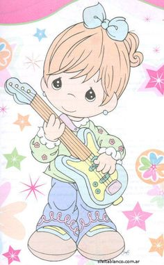 my baby sister Mary who took guitar lessons Precious Moments Quotes, Precious Moments Coloring Pages, Precious Moments Figurines, Plastic Canvas Tissue Boxes, Plastic Canvas Patterns, Crochet Humor, Holly Hobbie, Monster High Dolls, Tissue Box Covers