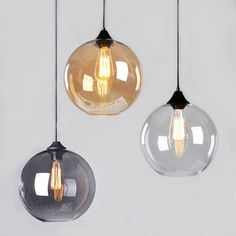 Modern+Vintage+Pendant+Ceiling+Light+Glass+Globe+Lampshade+Fitting+Cafe+4+Color Selger på eBay!