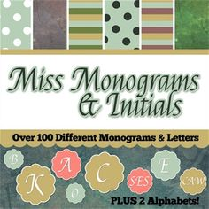 Free digital Scrapbook Kit:  Miss Monograms & Initials.  Over 100 different monograms and initials. PLUS, 2 alphabets, papers, and frames! #digital #scrapbooking #artscow