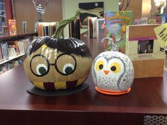 Harry Potter and Hedwig painted pumpkins!