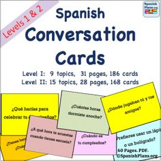 "SP Top Pin # 6: Conversation Cards  Get your beginning Spanish students talking! Over 300 questions for your students to ask and respond to. 31 pages for Level 1 Cards and 28 pages for Level 2 Cards with 6 ""cards"" on a page to cut out. Click the image to download the free preview or to purchase the cards on CD."