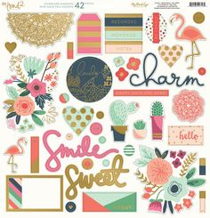 My Mind's Eye - On Trend 2 Collection - 12 x 12 Chipboard Stickers - Elements