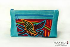 Leder Kosmetiktäschchen mit einzigartigem Textil von MOLA-BAGS auf DaWanda.com