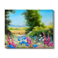 Gallery Direct Oil Painting - field with flowers and
