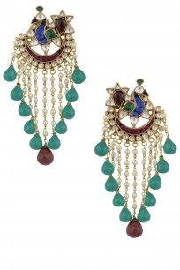 Gold Plated Peacock Piroi Pearl Drop Earrings #raabta #perniaspopupshop #shopnow