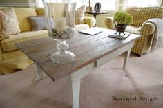 Turning a broken down old farm table into a family coffee table.  Storywood Designs