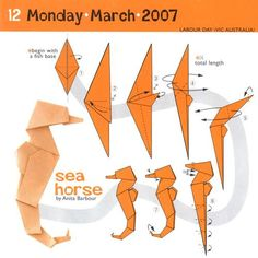 Origami seahorse folding instructions with 7 step diagram