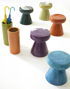 We're all sitting pretty (and keeping our floors dry) with our colorful new Carmen stools & umbrella stands. Finials For Curtain Rods, Curtain Rod Hardware, Sheer Curtain Panels, Outdoor Curtains, Linen Curtains, Ceramic Stool, Roller Shades, Accent Chairs For Living Room, Wedding Chairs