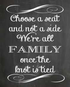 Choose A Seat Not A Side Chalkboard Wedding Sign by PaperCutCards