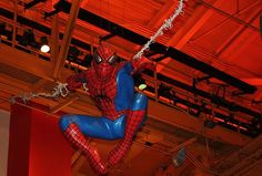 Title:  Spiderman Swinging Through The Air  Artist:  John Telfer  Medium:  Photograph