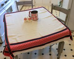 Vintage Tablecloth Red & Black Geometric by unclebunkstrunk