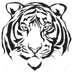 Tiger Head Silhouette Design Royalty Free Cliparts, Vectors, And ...