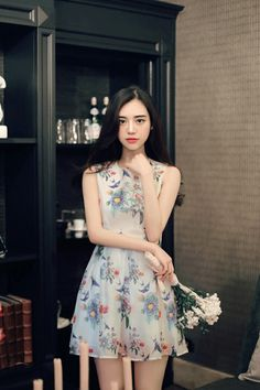 Korean Fashion Summer, Korean Fashion Dress, Korea Fashion, Asian Fashion, Fashion Dresses, Pretty Dresses, Beautiful Dresses, Asian Model Girl, Short Dresses