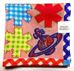 Vivienne Westwood Handkerchief scarf bandana Cotton Pink Check Orb Auth New #VivienneWestwood #DesignerArtist