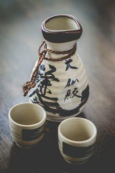 Petits verres et carafe de sake pour les 3 Petits Maîtres
