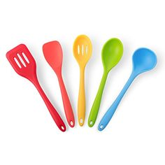 California Home Goods 5-Piece Heat Resistant Silicone Cooking Set ● 1 Slotted Spoon, 1 Spatula Slotted Turner, 1 Ladle, 1 Spoonula, 1 Spoon ● Gorgeous Multi-Color Pack