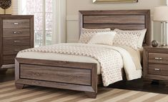Queen Bed CS204191Q For $164 Description :  Sophistication meets shabby chic with this handsome cottage style Kauffman bedroom set. Each piece features framing details completed in a lovely rustic finish for a look that you will love. Tapered block feet also add a design that brings the look together. Each storage piece has ample room for you to keep your clothes stored neatly away and organized.