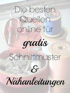 Übersicht kostenloser Schnittmuster und Nähanleitungen | Die besten Websites für gratis Schnittmuster | Nähen, Nähmaschine, Selbermachen, handmade, DIY