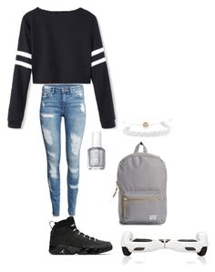 """Untitled #190"" by crazyperson456 ❤ liked on Polyvore featuring H&M, Essie, Herschel Supply Co. and Domo Beads"