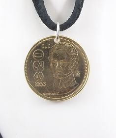Mexican Coin Necklace, 20 Pesos, Coin Pendant, Leather Cord, Mens Necklace, Womens Necklace, Birth Year, 1988 by AutumnWindsJewelry on Etsy