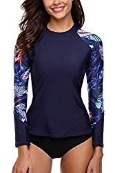New ATTRACO Women's Long Sleeve Rashguard Swimsuit Top Leaf UV Shirt UPF 50 online. Find the perfect Reebok Swimsuit from top store. Uv Shirt, Sport Chic, Camisa Uv, Online Shopping, Rash Guard Swimwear, Rash Guard Women, Retro Swimwear, Bike Shirts, Running Shirts