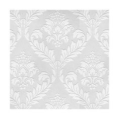 Graham & Brown Medium Damask Paintable Wallpaper, White Gray ($30) ❤ liked on Polyvore featuring home, home decor, wallpaper, backgrounds, phrase, quotes, saying, text, texture and white gray
