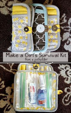 """Use for personal first aid.  Or toiletries as service project.  DIY """"emergency clutch"""" from a potholder  zip lock bags."""