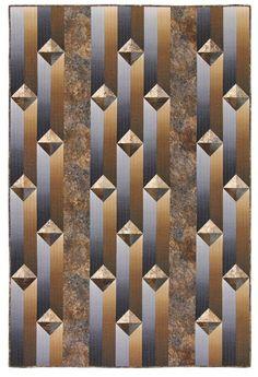 Gentlemen's Agreement quilt kit - CraftIdea. 3d Quilts, Strip Quilts, Scrappy Quilts, Mens Quilts, Quilt Block Patterns, Quilt Blocks, Quilting Projects, Quilting Designs, Optical Illusion Quilts