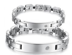 """HotVally Lover's Energy Magnetic His and Hers Matching Set Crystal Stainless Steel Bangle Bracelet. Female Size: 10mm*20cm (W*L); Weight: 29g/pc. Male Size: 12mm*21.5cm (W*L); Weight: 60g/pc. Condition: 100% Brand New and High Quality. Material: Titanium, 316 Stainless Steel. Including a beautiful Black Gift Bag printed """" HotVally """" on it."""