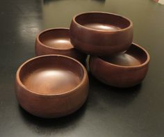 Hellerware Staved Bowl Set of Four, Wooden Snack Bowl Set, Salad Bowls, Danish Styled Bowl Set, Wood Serving Set, by GinnysGirlsTreasures on Etsy