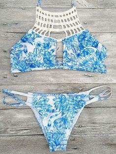 Printed String Cut Out Bikini Set - BLUE S