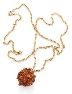 """Jeweled Pomander made of fire opals, which can be filled with cloves for a """"scent-trail,"""" from the Chromance Collection by Solange Azagury-Partridge."""