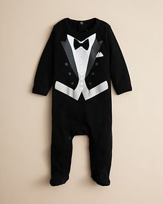 Sara Kety Infant Boys' Black Tie Footie - Sizes 3-9 Months | Bloomingdale's