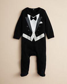 Sara Kety Infant Boys' Black Tie Footie - Sizes 3-9 Months | Bloomingdale's