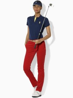 This simple Ralph Lauren look incorporates the brand's simple Slim-fit short-sleeve polo with fitted slacks in a contrasting color. Both a preppy and practical look for the course.