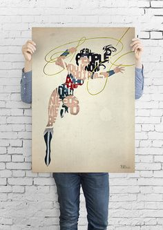 Wonder Woman typography art print poster based on a quote from the comic Wonder Woman on Etsy, $5.19